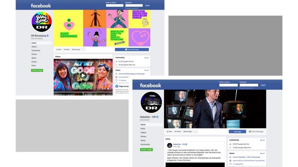 Screendumps af DR Ramasjangs & DR Debattens facebook-sider.