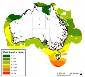 Vindforholdene i de sydlige og vestlige Australien er fremragende til havvindmøller. Illustration: The Blue Economy