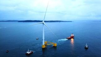 Flydende platforme til vindmøller er en af grundene til, at Australien nu begynder at se på vindkraft til havs. Illustration: MHI Vestas